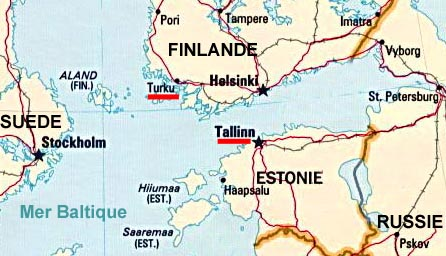 Image: location map for Turku and Tallinn.
